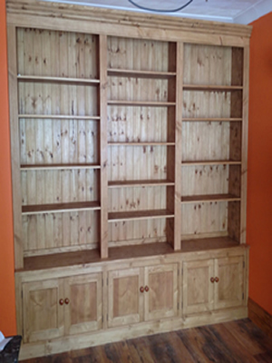 Fitted Solid Pine Rustic Waxed End of Room Bookcase with Lower press