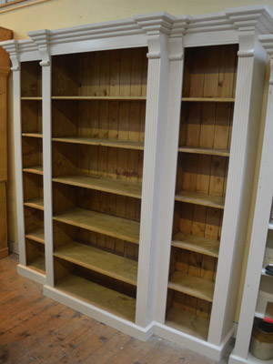 Breakfront Bookcase Painted French White with a Rustic Wax Interior