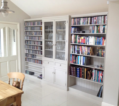Breakfront bookcase with glazed display unit
