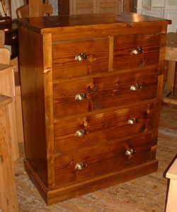 Stained Oak 2 Over 3 Chest of Drawers with Cup Handles