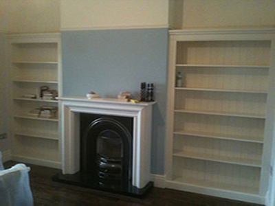 Built in alcove shelving
