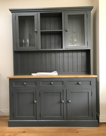 Large hand made to order Painted Charcoal Half Glazed 5ft Dresser