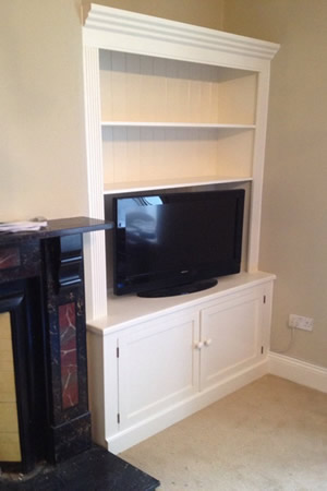 Pair of Fitted and painted Alcoves With Drawers